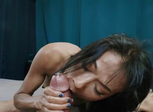 Asian sucks big cock